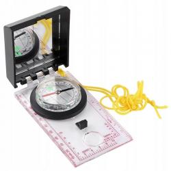 Kompas kartograficzny z linijką i lusterkiem