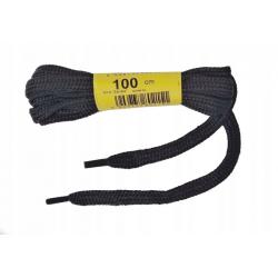 Sznurowadła 100cm sznurówki płaskie czarne bawełna