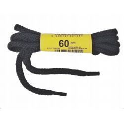 Sznurowadła 60cmG sznurówki okrągłe czarne bawełna