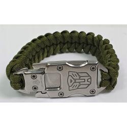 Bransoletka Paracord Survival z nożem zielona NOWA
